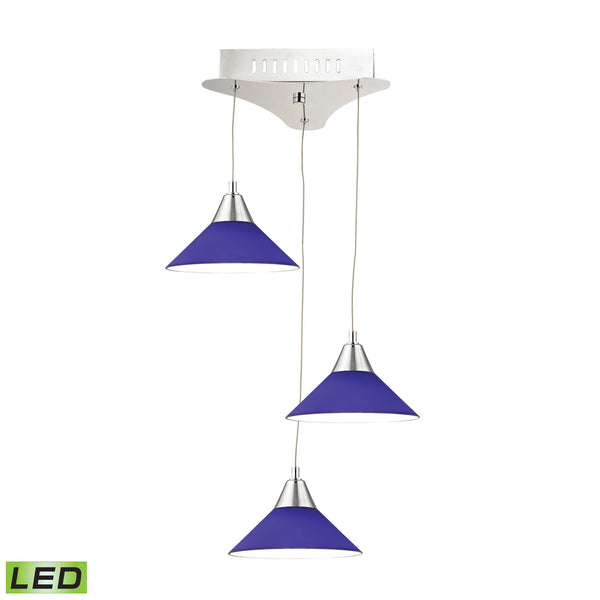 Cono 3 Light LED Pendant In Chrome With Blue Glass