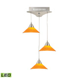 Cono 3 Light LED Pendant In Satin Nickel With Yellow Glass