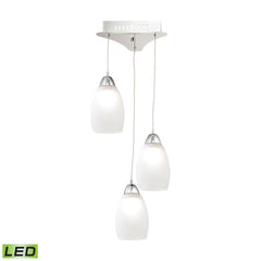 Buro 3 Light LED Pendant In Chrome With White Glass