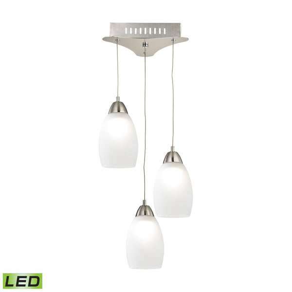 Buro 3 Light LED Pendant In Satin Nickel With White Glass