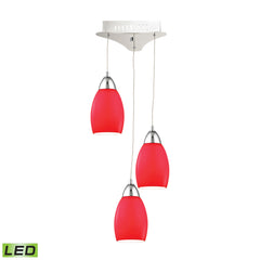 Buro 3 Light LED Pendant In Chrome With Red Glass