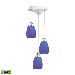 Buro 3 Light LED Pendant In Chrome With Blue Glass