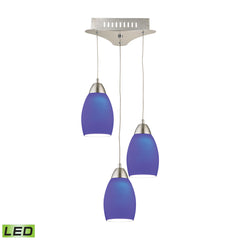 Buro 3 Light LED Pendant In Satin Nickel With Blue Glass