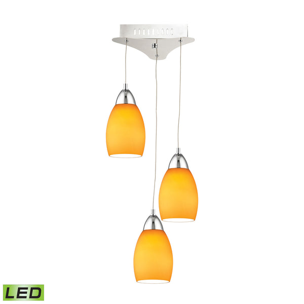 Buro 3 Light LED Pendant In Chrome With Yellow Glass