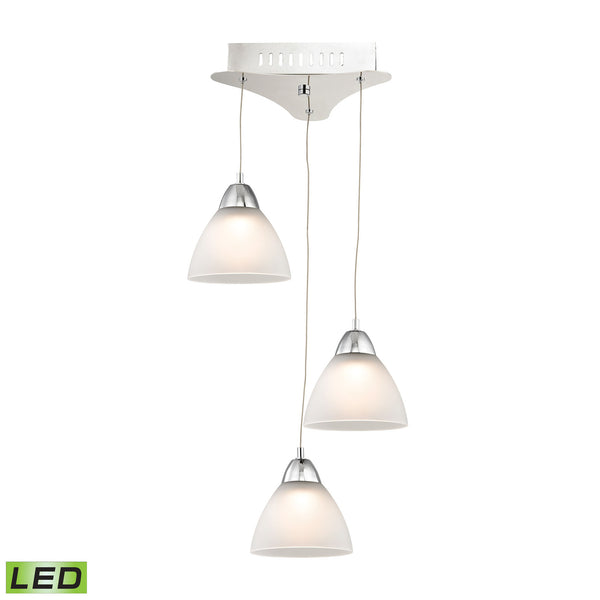 Piatto 3 Light LED Pendant In Chrome With White Glass