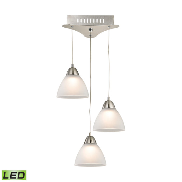 Piatto 3 Light LED Pendant In Satin Nickel With White Glass