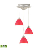 Piatto 3 Light LED Pendant In Satin Nickel With Red Glass