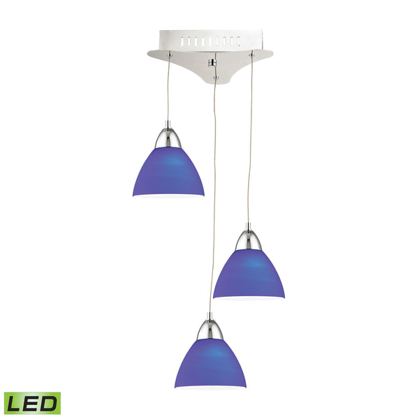 Piatto 3 Light LED Pendant In Chrome With Blue Glass