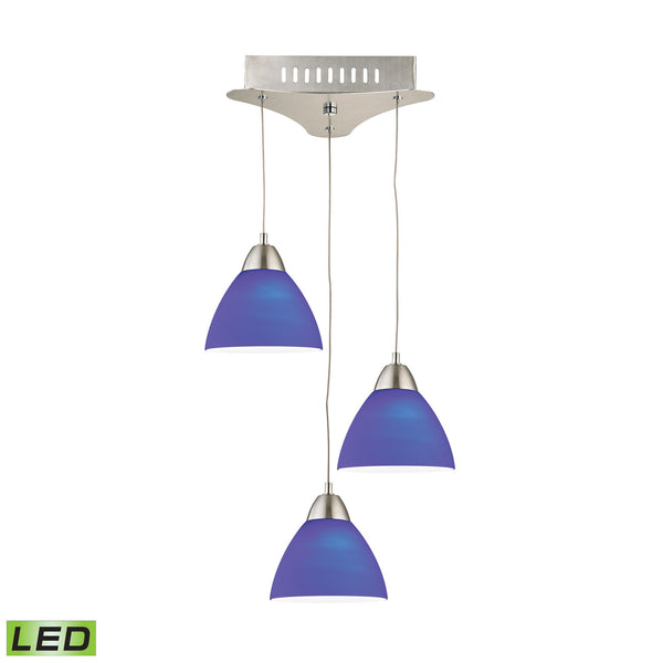 Piatto 3 Light LED Pendant In Satin Nickel With Blue Glass