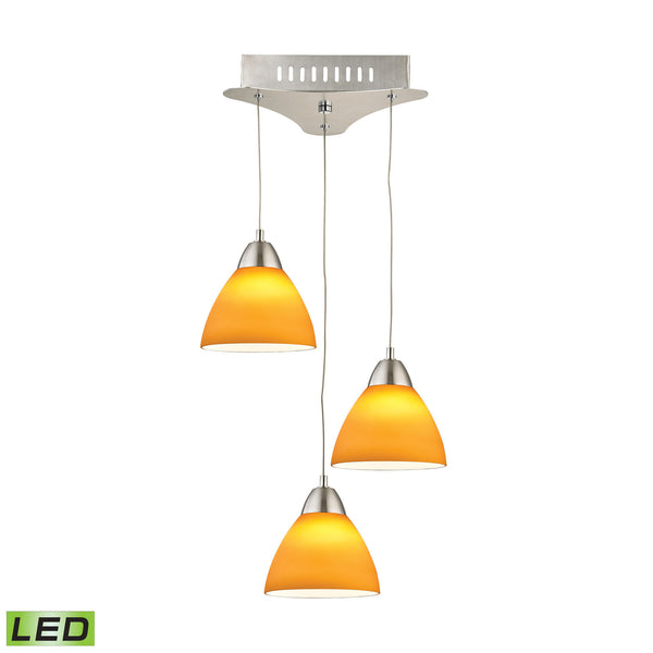 Piatto 3 Light LED Pendant In Satin Nickel With Yellow Glass