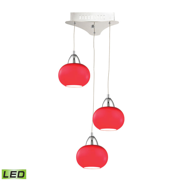 Ciotola 3 Light LED Pendant In Chrome With Red Glass