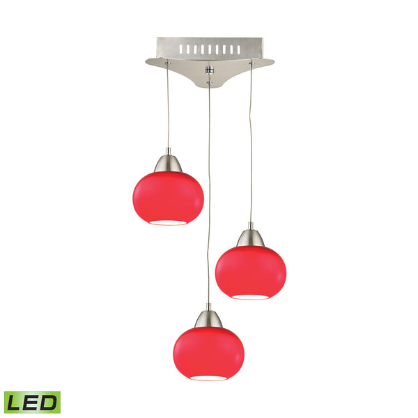 Ciotola 3 Light LED Pendant In Satin Nickel With Red Glass