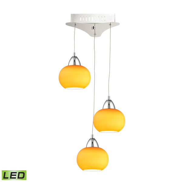 Ciotola 3 Light LED Pendant In Chrome With Yellow Glass