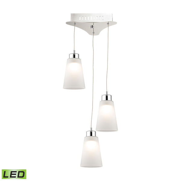 Coppa 3 Light LED Pendant In Chrome With White Glass