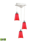 Coppa 3 Light LED Pendant In Chrome With Red Glass