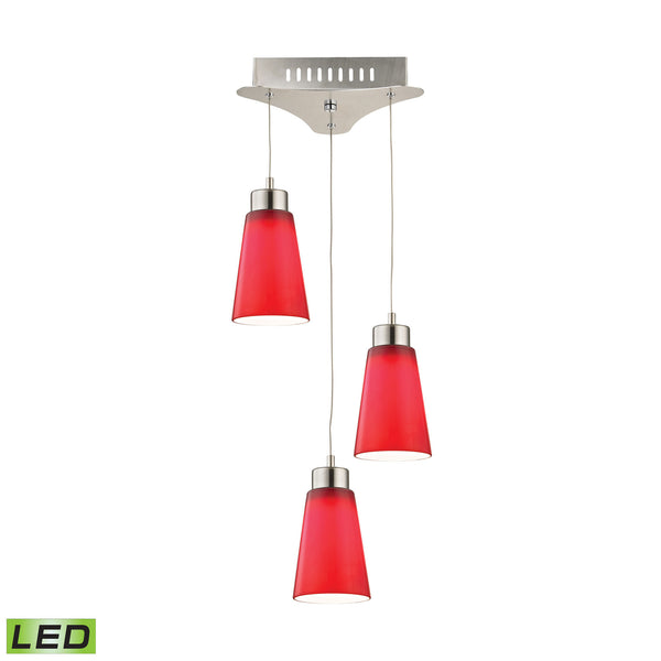 Coppa 3 Light LED Pendant In Satin Nickel With Red Glass