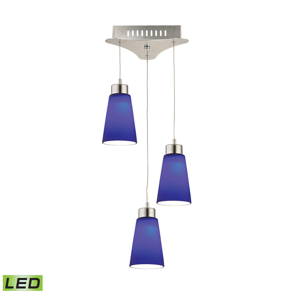 Coppa 3 Light LED Pendant In Satin Nickel With Blue Glass