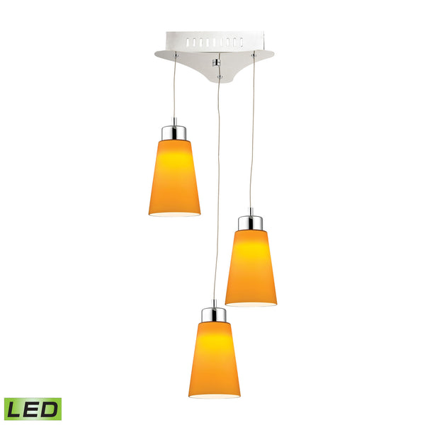 Coppa 3 Light LED Pendant In Chrome With Yellow Glass