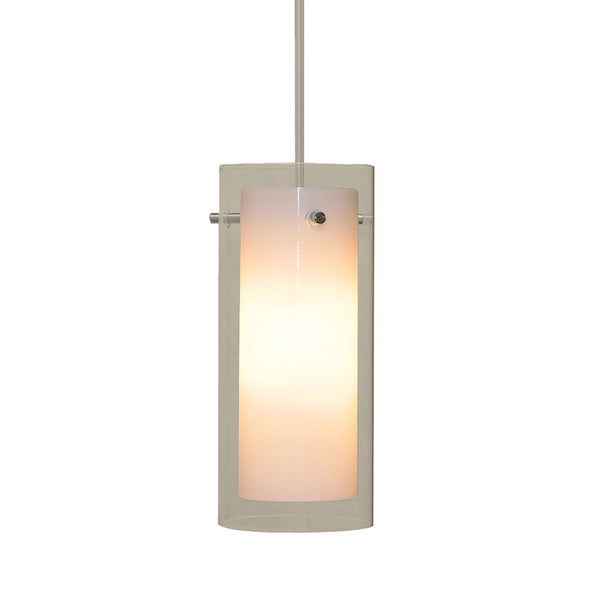 Tubolaire 12V Contemporary White Opal Inner w/Clear Outer Glass / Sn Finish