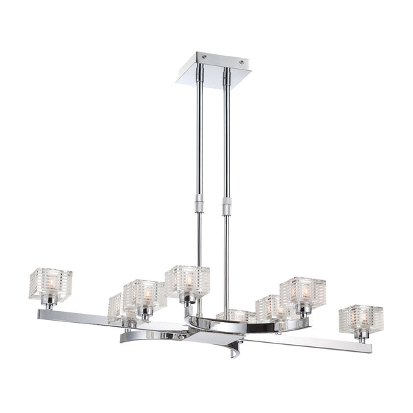 Quatra Eight Lamp Contemporary Chandelier in Chrome