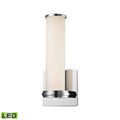 Baton 1 Light LED Wall Sconce In Chrome and White Opal Glass