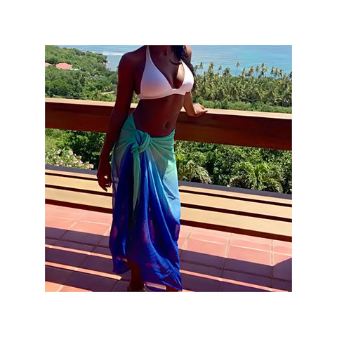 Beach Glam Blue and Green Ombre Sarong