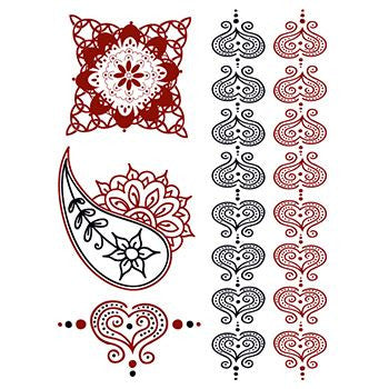 Classic Faux Henna Temporary Red & black Romance