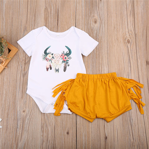 Boho Baby Girls Deer Skull Tribal Design Onesie with Fringe shorts Two Piece outfit