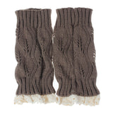 Crochet Boot Cuff Leg Warmers with Lace trim boot toppers in two color option