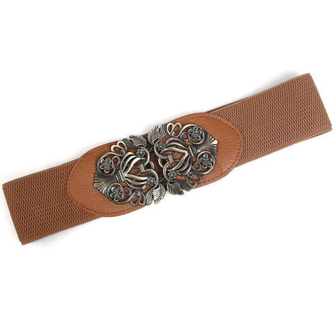 Tan Retro Boho Stretchy Belt
