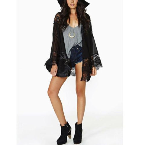 Boho Chiffon and lace Kimono in Black Gypsy Cardigan Tunic fits XS to Small
