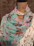 Chiffon Scarf in two color options Hot Pink or Blue/Green with Butterflies Print Chiffon Scarf
