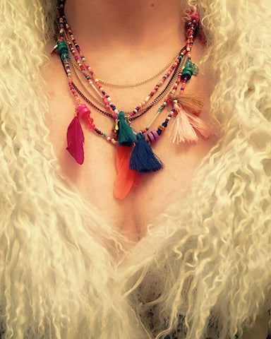 Bohemian Multistrand Beaded multi chain layered Necklace Tassels Feathers
