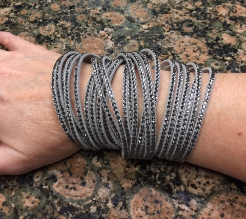 Bracelet faux leather crystal wrap bracelet in Gray **1st two pictures shown wearing 2 bracelets**