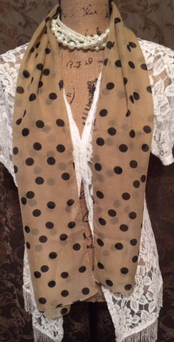 Chiffon Scarf Polka Dot in two color options Light Pink or Tan Print Chiffon Scarf