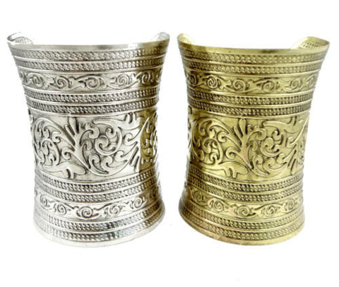 Cuff Wide Bracelet boho gypsy hippy belly dance tribal in Gold or Silver alloy