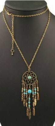 Boho Dream Catcher Tassel Neckalce Goldtone w/ Blue Turquoise Beads & feathers w/ Long Chain