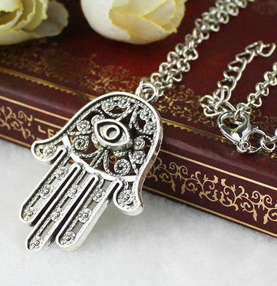 Hamsa Necklace in Silver good luck evil eye pendant chain