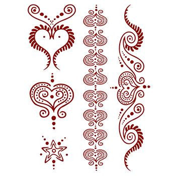 Classic Faux Henna Temporary Red Hearts Set