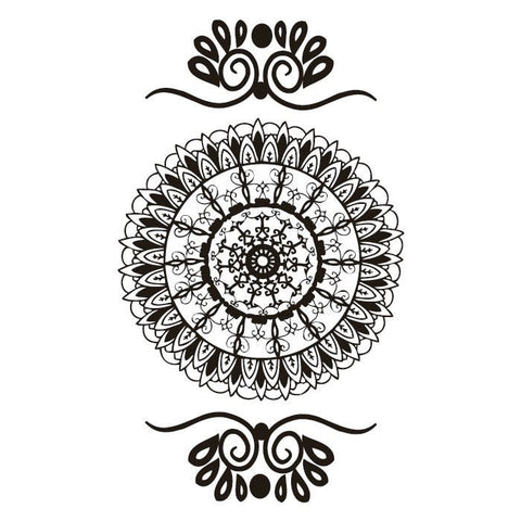 Classic Look Faux Henna Temporary Tattoo RED Mandala