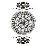 Classic Look Faux Henna Temporary Tattoo Black Mandala