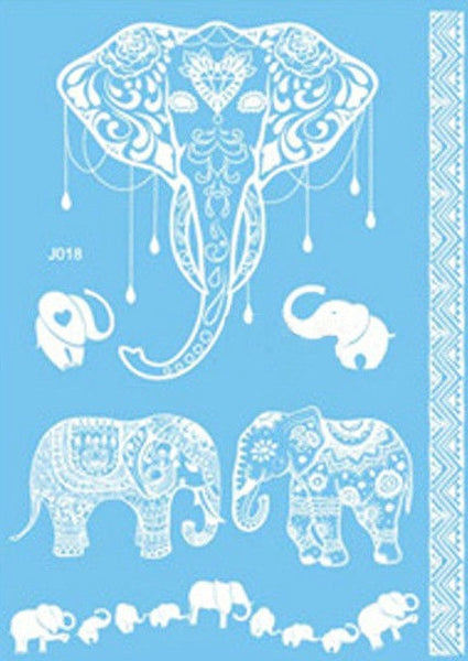 White Faux Henna Temporary Tattoo in Elephants