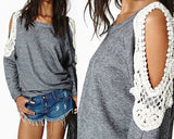Women's Casual Boho Cut out Shoulders Gray Shirt Sweatshirt Top