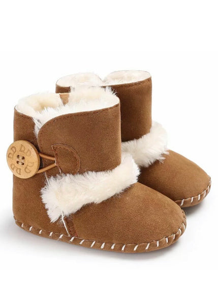 Baby boots boho faux fur for a boy or girl newborn to 6mos