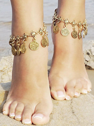 Boho Coin Silver Anklet in silver or gold (one anklet included)