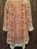 Gypsy Bohemian Chiffon Kimono Orange/Tan Floral Lace Trim