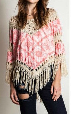 Pink and Cream Boho fringe printed hippie tunic top