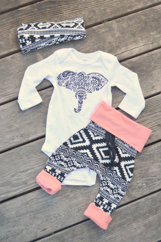 Boho Baby Girls Elephant Tribal Design Three Piece Outfit