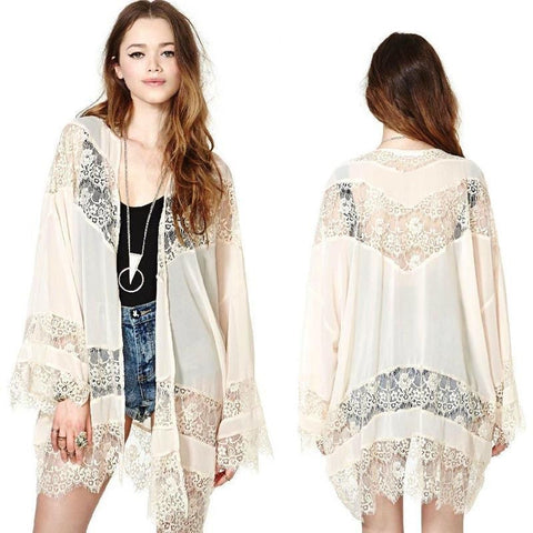 Boho Chiffon lace Kimono in Cream Gypsy Cardigan Tunic Med to Large **pre order for June**