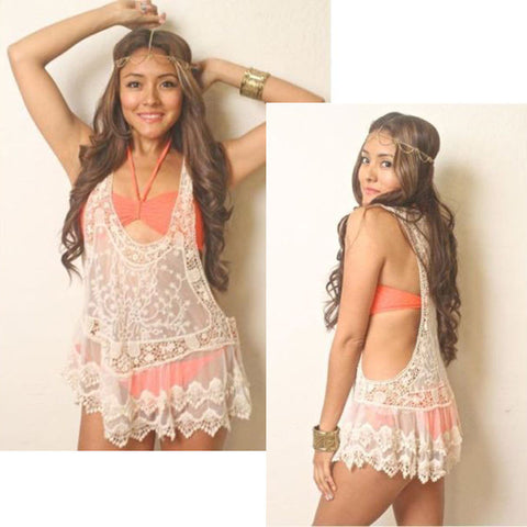A Sheer Embroidery Floral Hollow Lace Crochet Tank Vest Three Colors